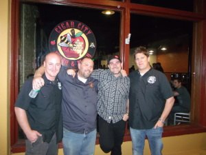 Cigar City Cider and Mead's talking heads, from left to right: Winemaker Jared Gilbert, Rep. Todd Strauss, Owner Joey Redner, and Vice President Justin Clark