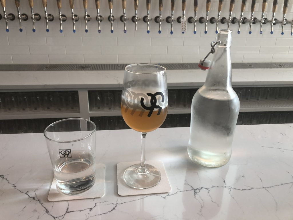 Draft beer and water at 99 Bottles