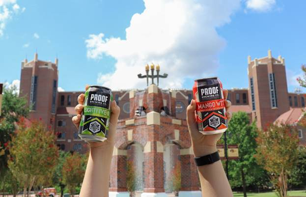 Proof Brewing Company cans of Mango Wit and 850 Pale Ale at Doak Campbell stadium