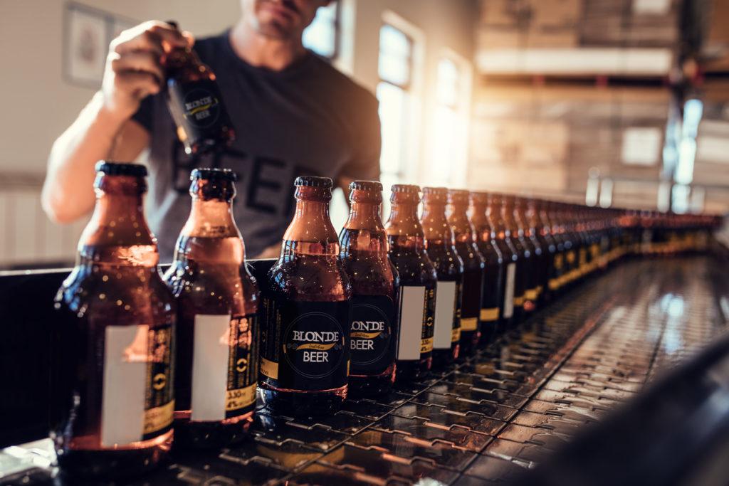 Beer on bottling line